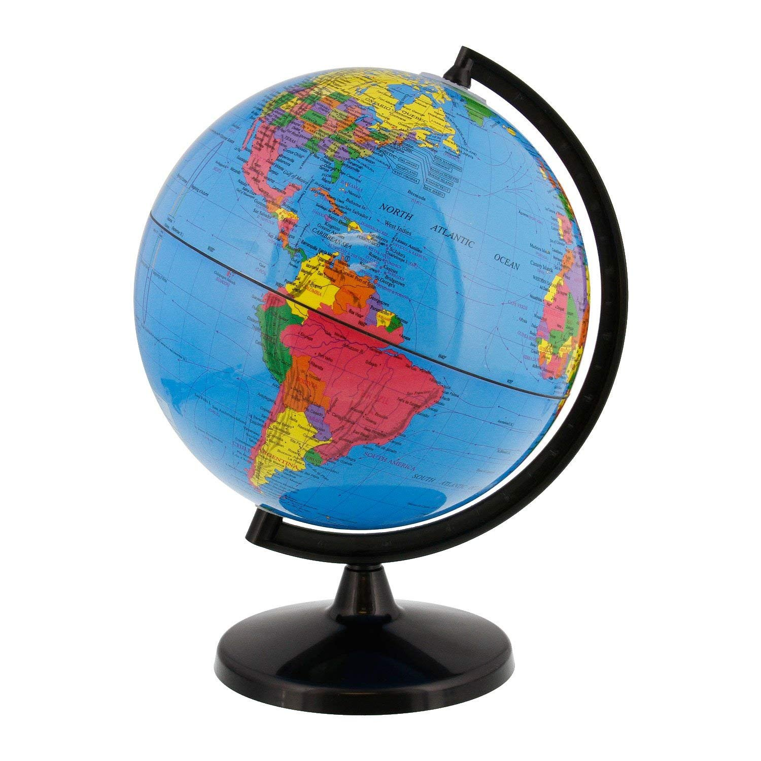 World Globe Great for Kids and Adults with Stand Desk 8 inch Globe 12 inch Tall Educational Deluxe Blue Ocean Black Base Full Earth Geography