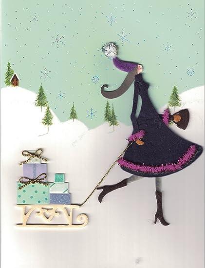 Amazon Com Burgoyne Handmade Christmas Holiday Card Lady Pulling