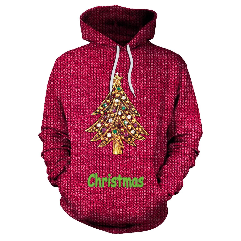 Mrsrui Men's Patterns Print 3D Sweaters Fashion Hoodies Sweatshirts Pullover Red by Mrsrui