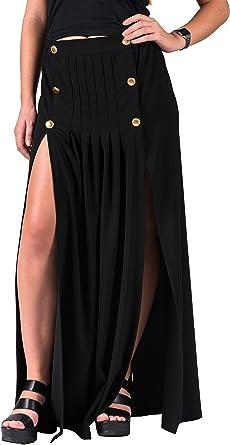 Emanuela. Falda larga de tiro alto, silueta recta con tajos. Color negro