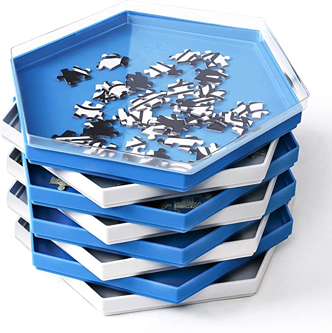 Becko Stackable Puzzle Sorting Trays Jigsaw Puzzle Sorters with Lid Puzzle Accessory for Puzzles Up to 1500 Pieces, 8 Hexagonal Trays (Blue&White): Amazon.co.uk: Toys & Games