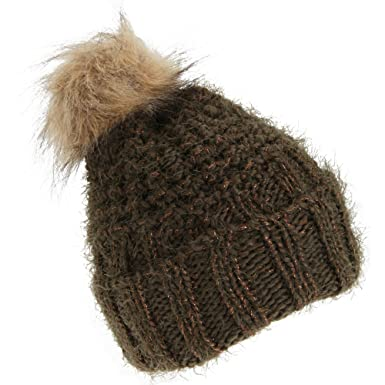 ca9a8f88e08 Foxbury Womens Ladies Chunky Winter Hat with Faux Fur Bobble (One Size) (