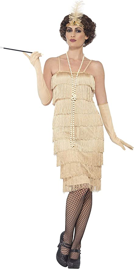 Roaring 20s Costumes- Flapper Costumes, Gangster Costumes Razzle Dazzle 1920s Long Gold Flapper Dress Womens Adult Costume Sizes SM-2X $34.99 AT vintagedancer.com