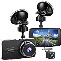 Full HD 1080P Dash Camera, 4.0'' Inch Screen Dual Channel Lens, 170° Wide Angle Car Camera with G-Sensor, Motion Detection and Loop Recording