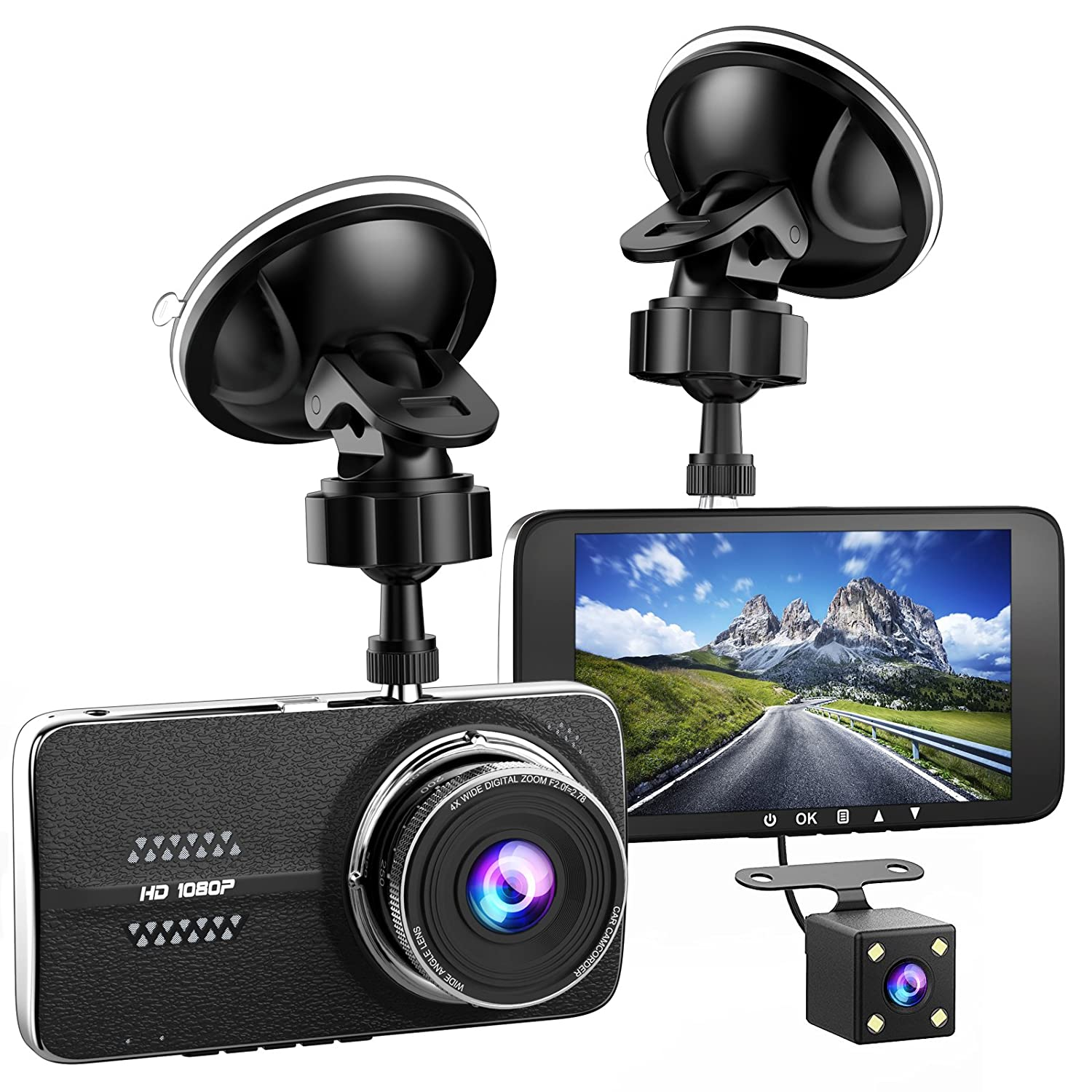 Amazon.com: 4.0'' Car Dash Cam, Full HD 1080P Dash Camera, 170° Wide Angle  Front and Rear Dual Camera for Cars, Dash Camera with G-Sensor, WDR, ...