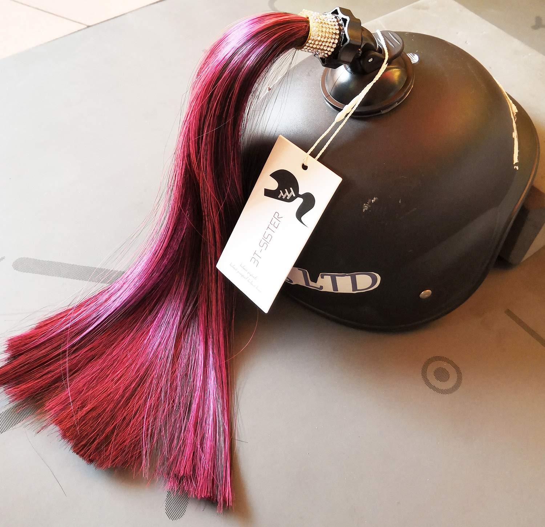 3T-SISTER Kristall Helm Pigtails 14 Zoll Rot gemischt Schwarz Helm Pferdeschwanz Dekoration f/ür Motorrad Fahrrad Ski Helm Zubeh/ör wiederverwendbare Saugnapf