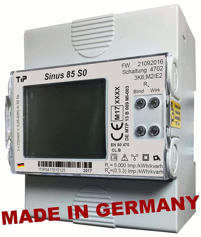 Stromzä hler SINUS 85 S0 MID, elektron. Drehstromzä hler f. Verteilungseinbau, geeicht (MID-Konform, EU-weit gü ltig), MADE IN GERMANY! - auch f. Einsatz mit Wechselrichtern geeignet! TIP Thüringer Industrie Produkte GmbH