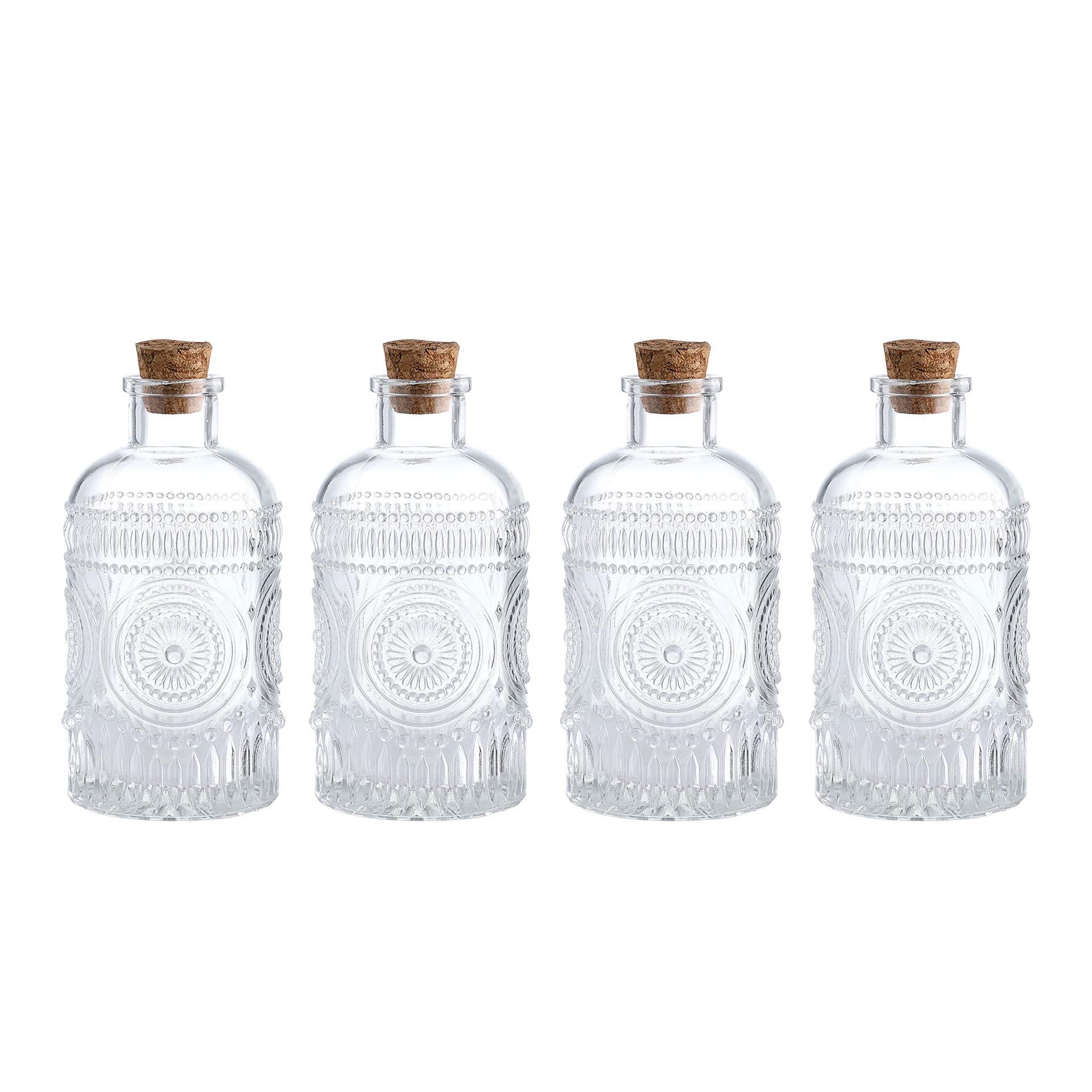 Set of 2 MyGift Vintage Design Embossed Clear Glass Bottles Apothecary Flower Bud Vase with Cork Lid