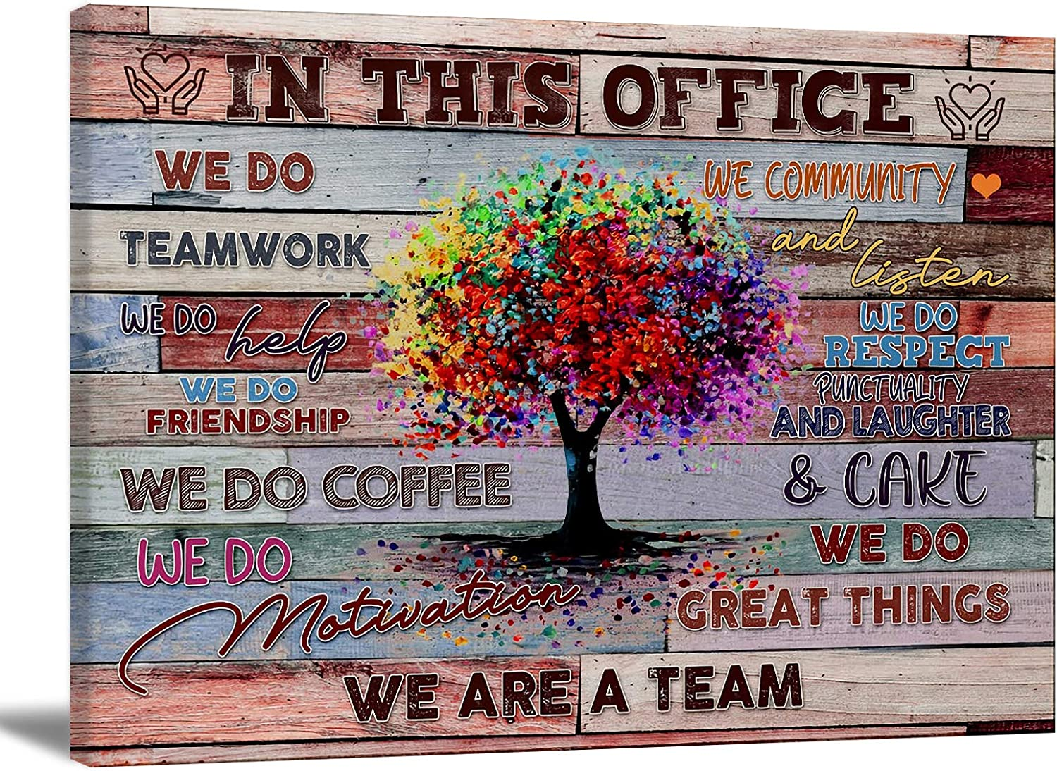 Inspirational Wall Art Motivational Poster Quotes Office Wall Decor for Girls Women Room Décor Canvas Wall Art for Office Canvas Print In This Office Teamwork Wall Art Office Gift 24x16in Frameless