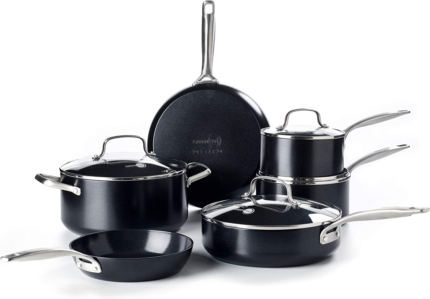 GreenPan CC002357-001 Profile Healthy Ceramic Nonstick Cookware Set, 10pc, Black