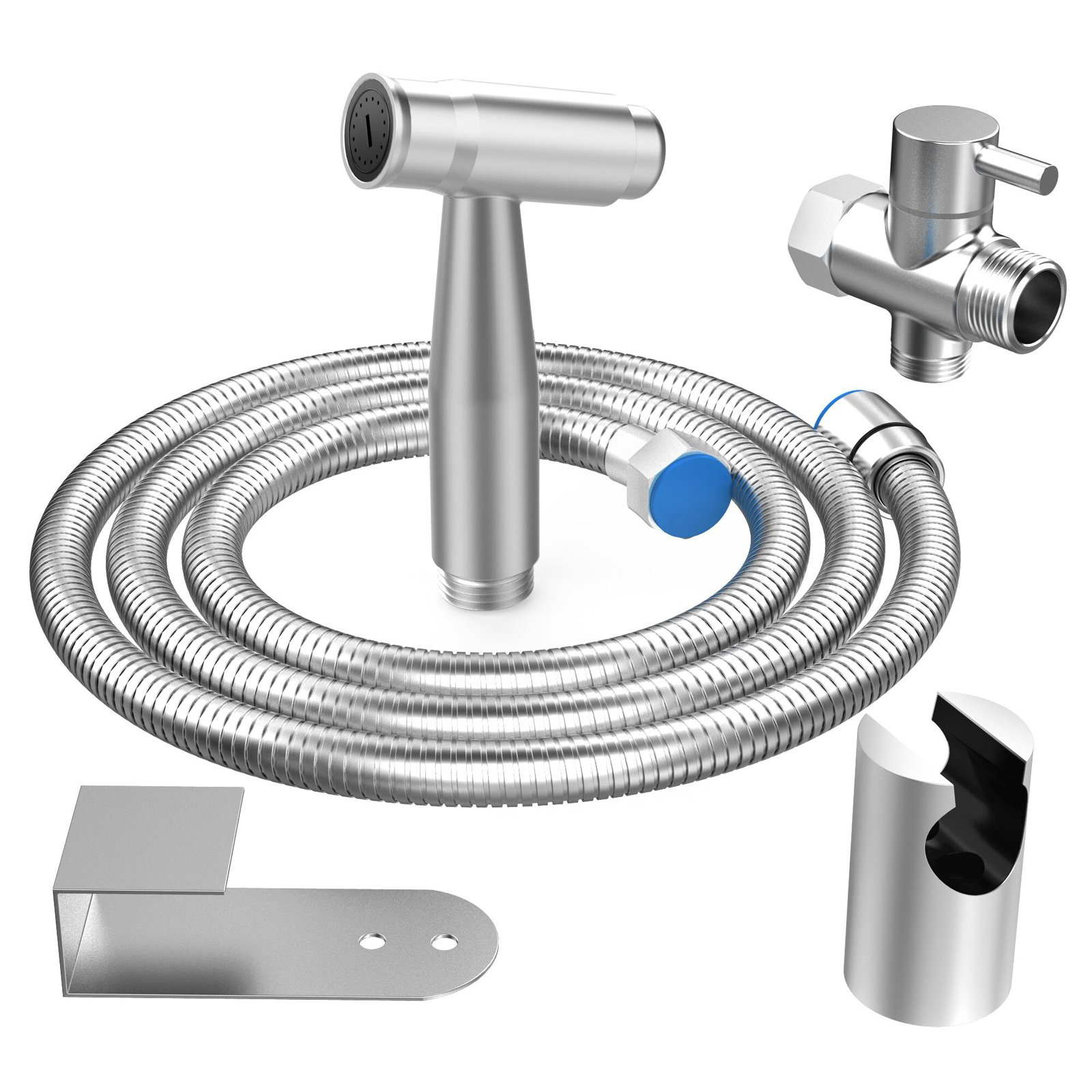 EIGSO Free press handheld bidet sprayer for toilet,Complete Premium Stainless Steel Bathroom Shattaf Sprayer Best Used for Personal Hygiene and Potty Toilet Spray