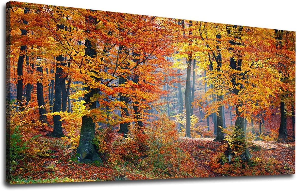 Amazon Com Yearainn Canvas Wall Art Autumn Forest Panoramic Red Trees Scenery Painting Long Canvas Artwork Contemporary Woods Nature Picture For Home Office Wall Decor 20 X 40 Posters Prints