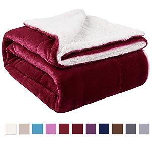 """NANPIPER Sherpa Blanket Twin Thick Warm Blanket for Winter Bed Super Soft Fuzzy Flannel Fleece/Wool Like Reversible Velvet Plush Blanket (Wine Red Twin Size 60""""x80"""")"""