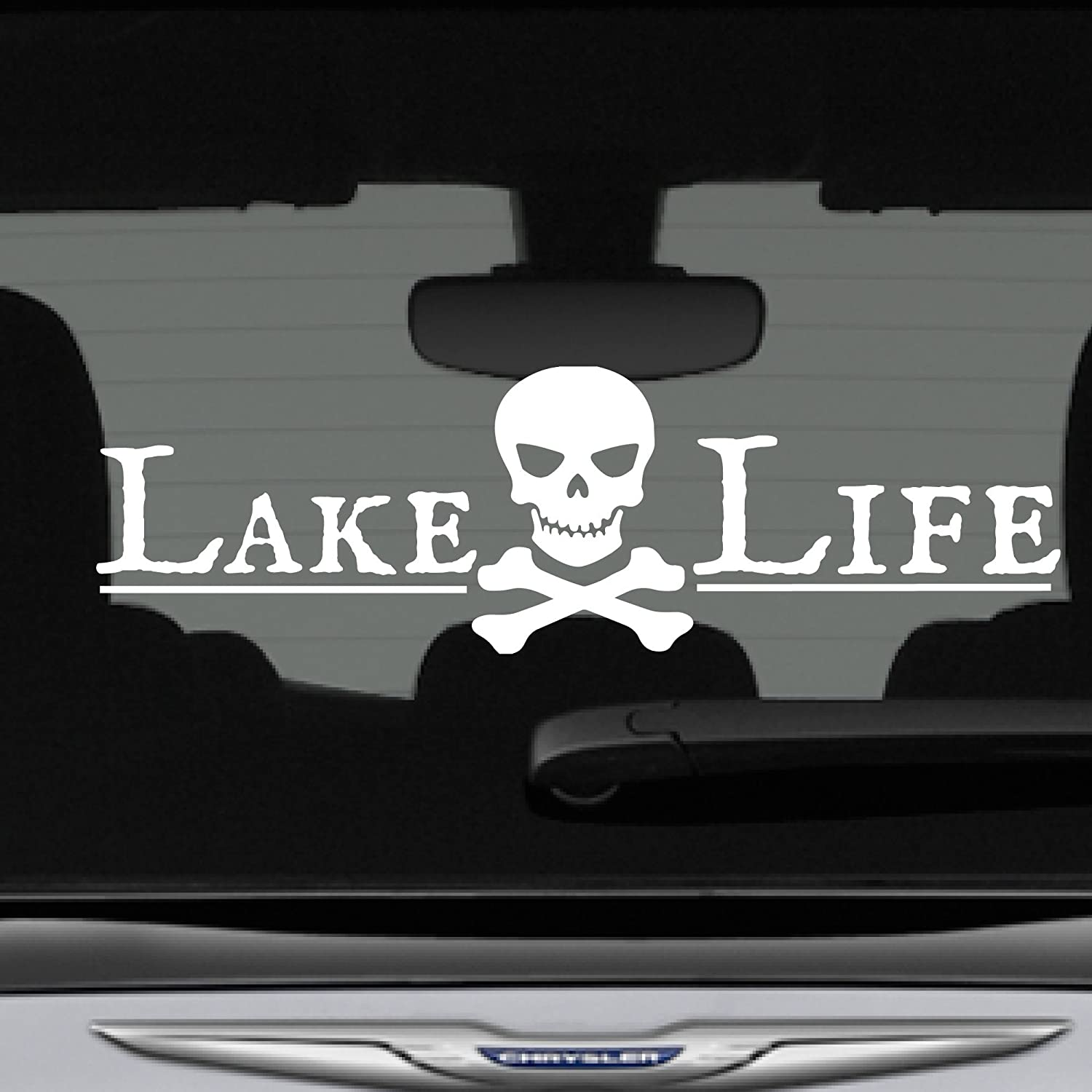 Craftelife lake life decal bumper sticker pirate skull crossbones 12 in x 3 in fits car truck suv boat motorcycle and more premium vinyl car