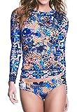 Jqing Women's Flower Print UV Sun Protective Long Sleeve 2 Piece Swimsuit Rashguard