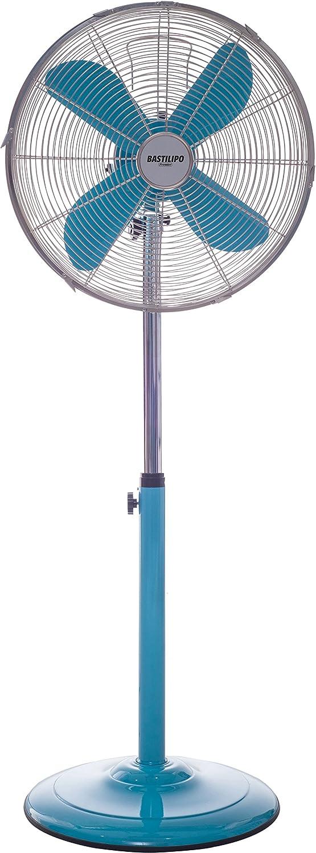 Bastilipo Palma Ventilador de Pie Redondo, 50 W, Acero Inoxidable, 3 Velocidades, Turquesa