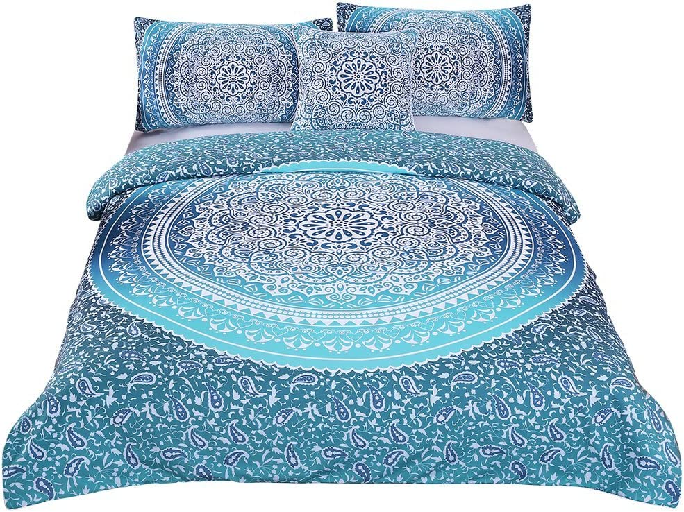 Sleepwish 4 Pcs Bohemian Luxury Boho Bedding Crystal Arrays Bedding Quilt Bedspread Mandala Hippie Duvet Cover Set Full Size