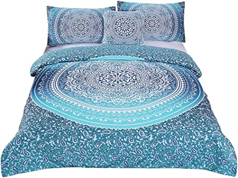 Details about  /Queen Size Bedding Set Hippie Mandala Bed Sheet Cotton Bed Cover with 2 Pillows