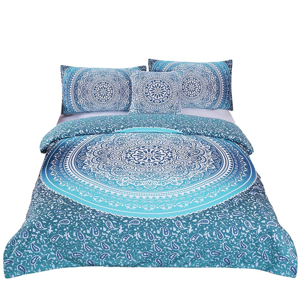 4 Pcs Bohemian Luxury Boho Bedding Crystal Arrays Bedding Quilt Bedspread Mandala Hippie Duvet Cover Set