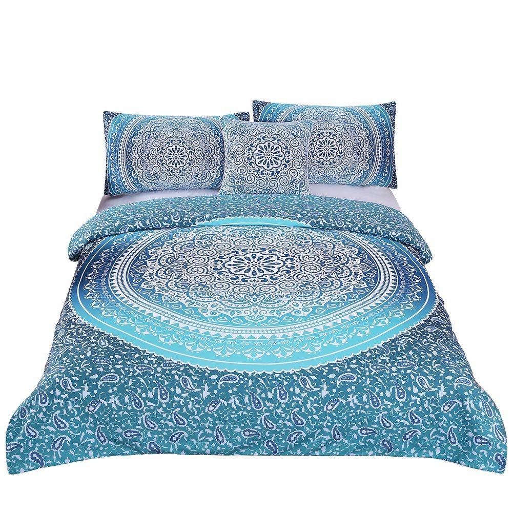 Sleepwish 4 Pcs Bohemian Luxury Boho Bedding Crystal Arrays Bedding Quilt Bedspread Mandala Hippie Duvet Cover Set Full Size