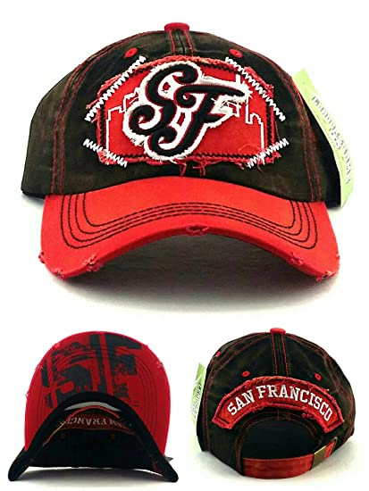 8612b8ac2aa09 Image Unavailable. Image not available for. Color  San Francisco New Top  Pro Vintage 49ers Colors Black Red Dad Era Strapback Hat Cap