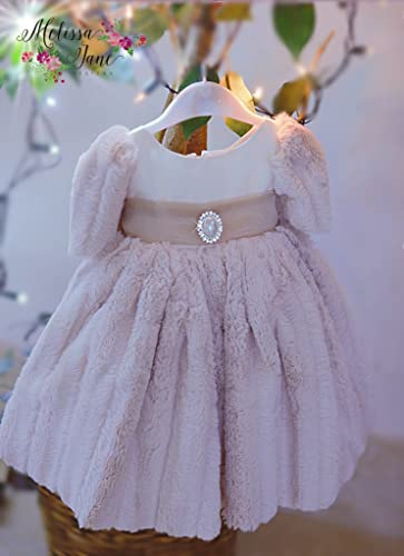 dae3113df457 Amazon.com  Baby s Minky Luxury Fur Dress  Handmade