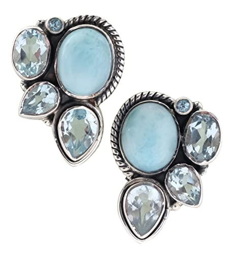 698e7c59b Image Unavailable. Image not available for. Color: Larimar Blue Topaz Stud  Earrings Solid 925 Sterling Silver Gemstone Jewelry