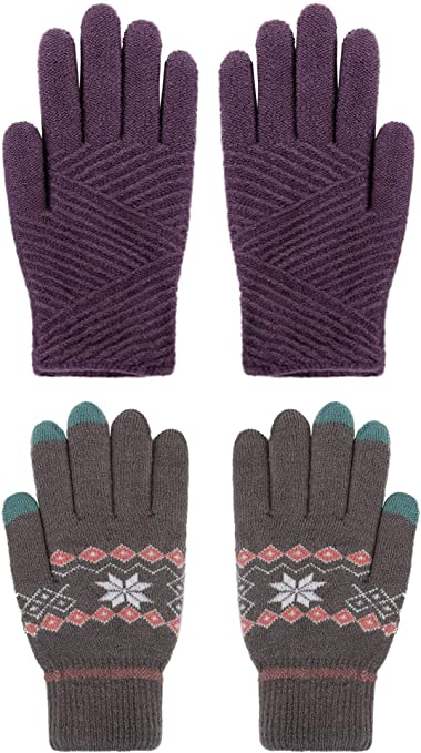 Simplicity Womens Winter 3 Finger Touchscreen Sensitive Double Layered Warm Knit Gloves Pack of 2