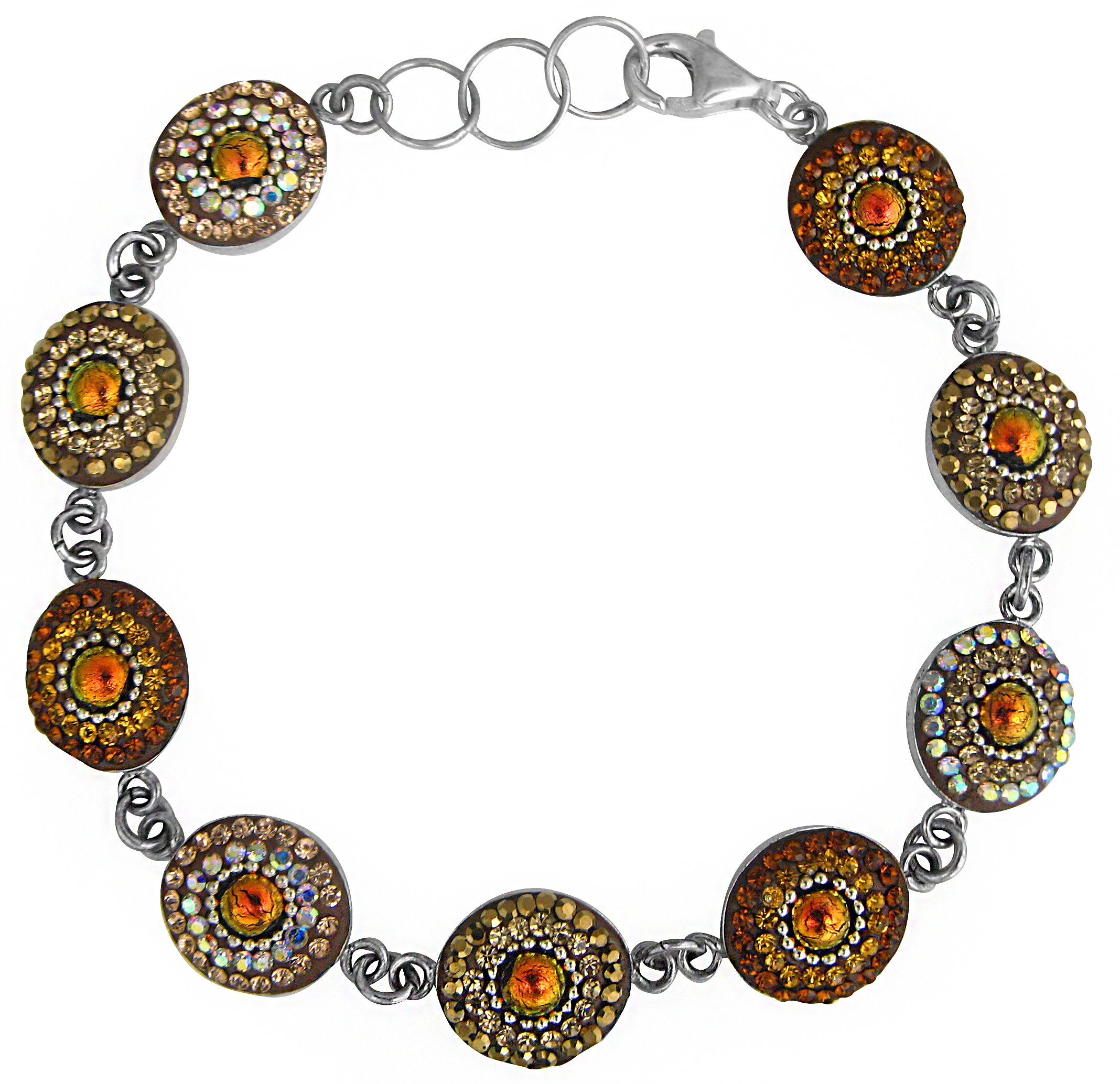 Mosaico Sterling Silver Dichroic Glass and Preciosa Czech Crystals Link Bracelet, 7.5'' … (Orange, Gold and Tan) by Dreamglass Mexico