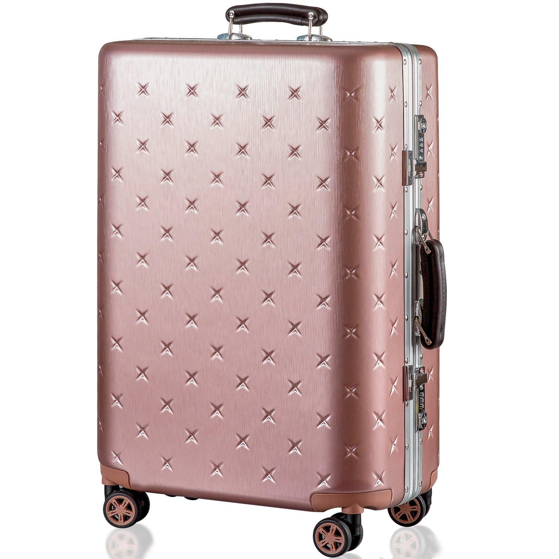 (タノビ)TANOBI スーツケース キャリーケース キャリーバッグ 超軽量 小型 中型 大型 TSAロック搭載 旅行用品 YCL-909 B07334N9TS M|ピンクゴールド ピンクゴールド M