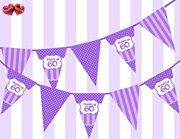 Party Decor Posh Purple Violet Lilac Lavender Happy 60th Birthday Ornament Sign On Polka Dot And