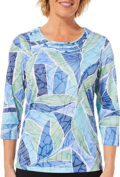 86d0df084c17a Alfred Dunner Greenwich Hills Stained Glass Burnout Top Multi PS at ...