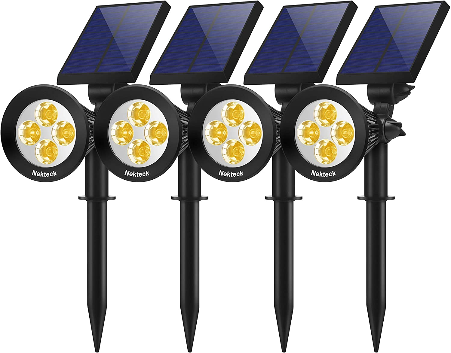 Nekteck Outdoor 2-in-1 Solar Spotlights Powered 4 LED Adjustable Wall Landscape Lighting, Bright and Dark Sensing Auto On/Off for Yard, Pathway, Walkway, Garden, Driveway, 4 Pack, Warm White