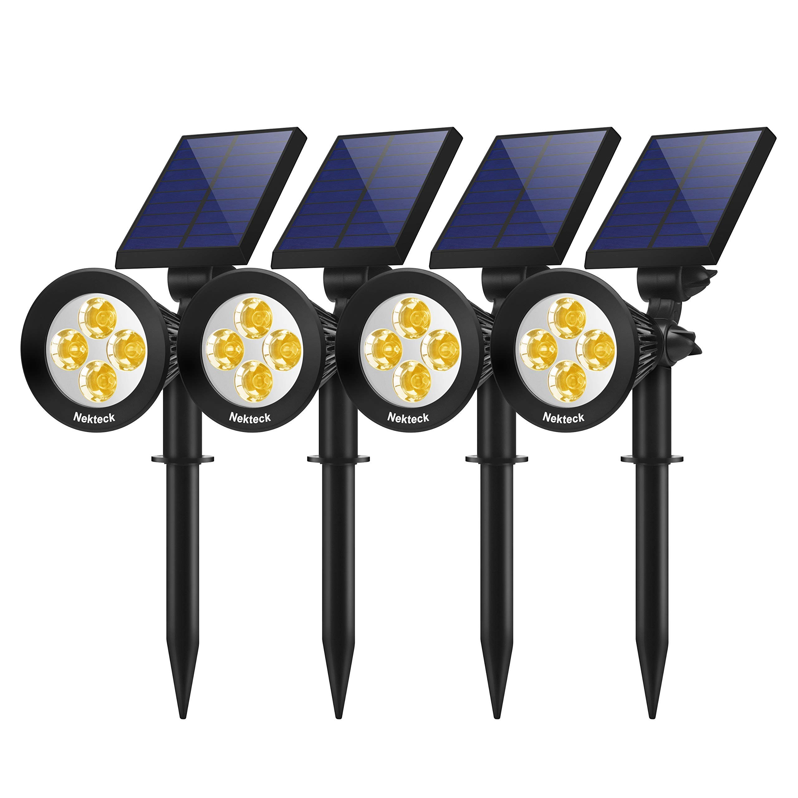 Nekteck Outdoor 2-in-1 Solar Spotlights Powered 4 LED Adjustable Wall Landscape Lighting, Bright and Dark Sensing Auto On/Off for Yard, Pathway, Walkway, Garden, Driveway, 4 Pack, Warm White by Nekteck