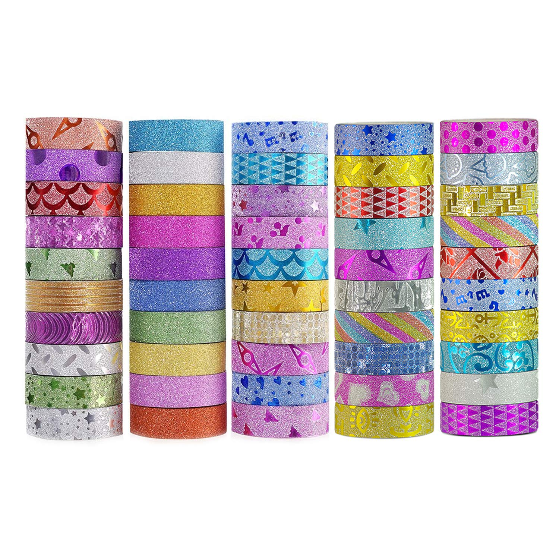 Washi Tape Set Glitter Masking Tape for DIY Craft Art Scrapbook Gift Wrapping 50 Rolls 5M