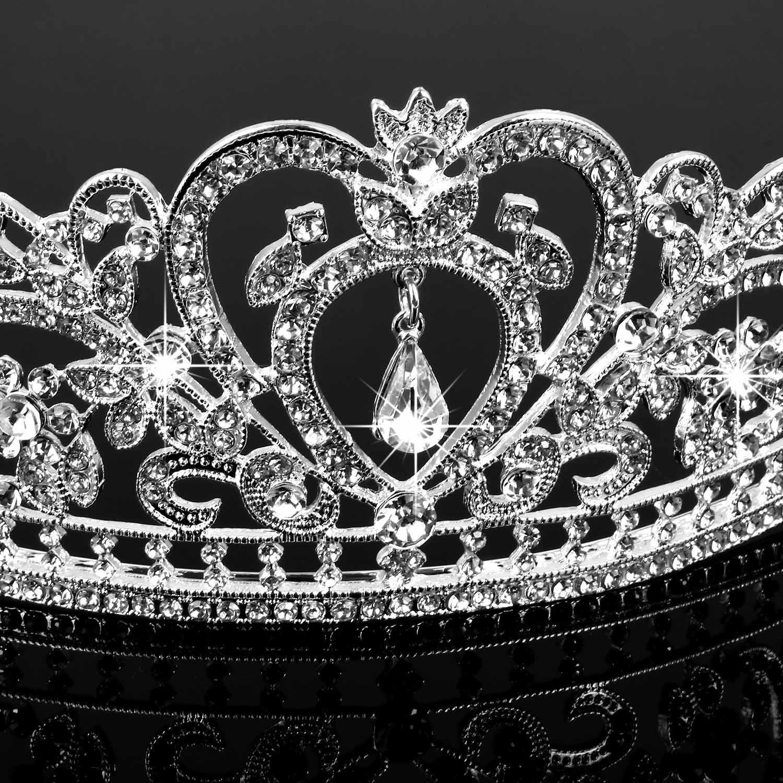 Abeillo Hochzeit Braut Kronen-Stirnband Tiara Charming Strass Kopfstück Silber (Diadem 3)