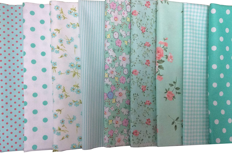 Green longshine-us 9pcs 19.7 x 19.7 Different Design Premium Cotton Craft Fabric Bundle Squares Patchwork Lint DIY Sewing Scrapbooking Quilting Dot Pattern Artcraft