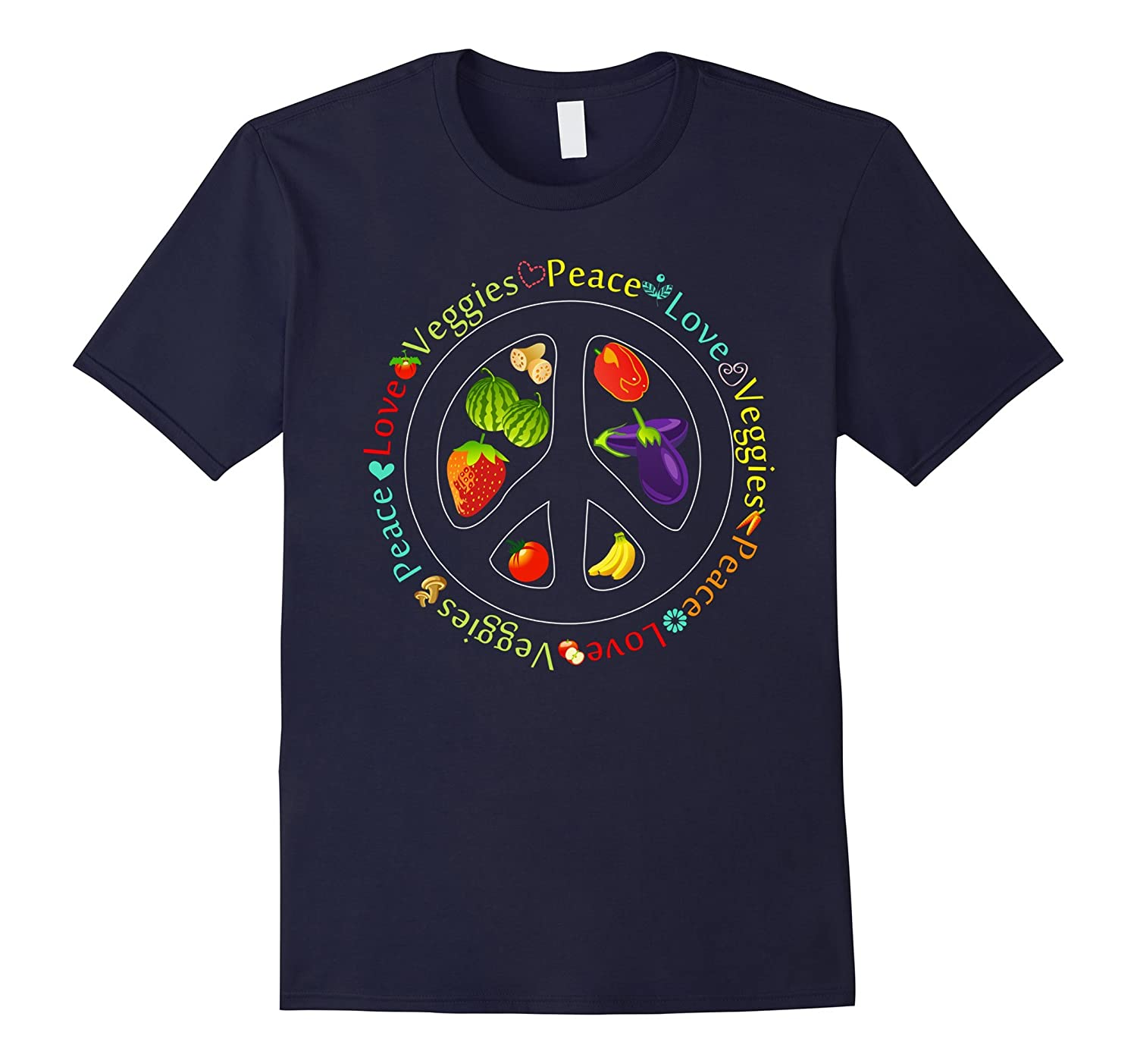 Funny Vegan Gifts T Shirt Peace Love Veggies Lover Shirt-TD