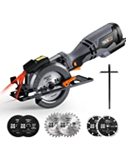 TACKLIFE 710W 3500RPM Circular Saw with Laser, 6 Blades (120mm & 115mm), Cutting Depth: 90° (46mm), 45° (35mm), 3 Meter Cord Length, Handheld Design, Cut Tile, Wood, Soft Metal and Plastic - TCS115A