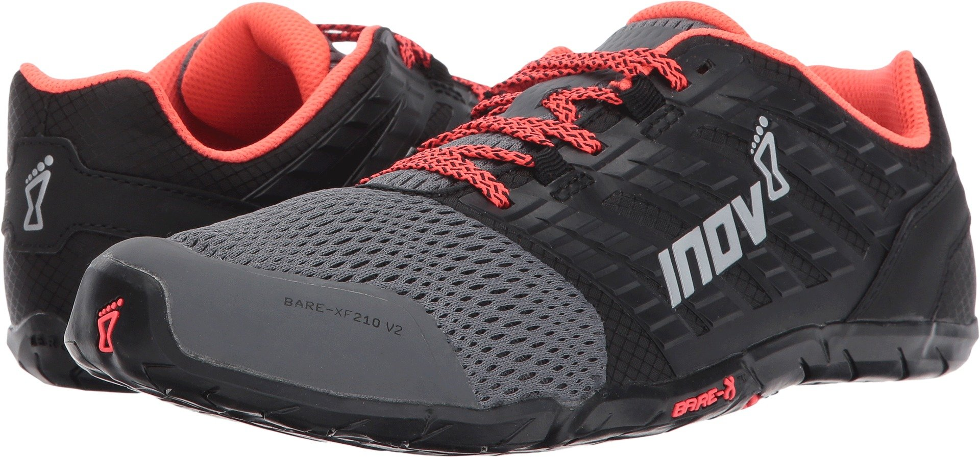 Inov-8 Women's Bare-XF 210 v2 (W) Cross Trainer, Grey/Black/Coral, 6 B US by Inov-8 (Image #1)