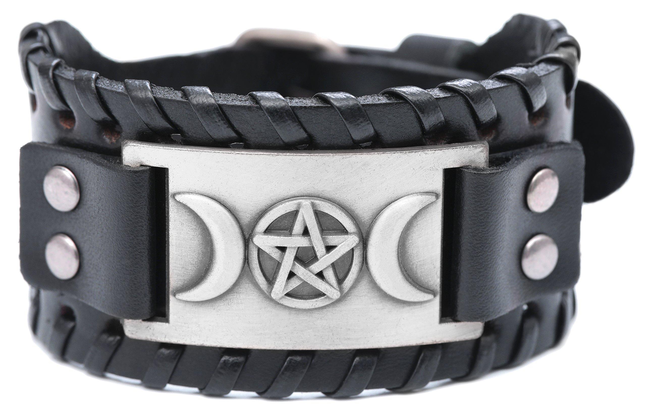 VASSAGO Vintage Pagan Triple Moon Goddess Pentacle Pentagram Metal Amulet Cuff New-style Leather Bracelet (Black Leather, Antique Silver)