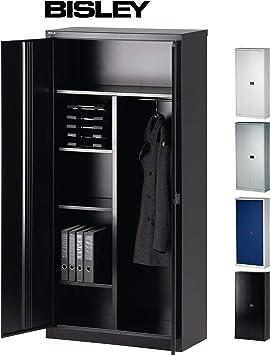 Bisley Aktenschrank Garderobenschrank Kleiderschrank Aus Metall Abschliessbar In 4 Farben Schwarz Amazon De Kuche Haushalt
