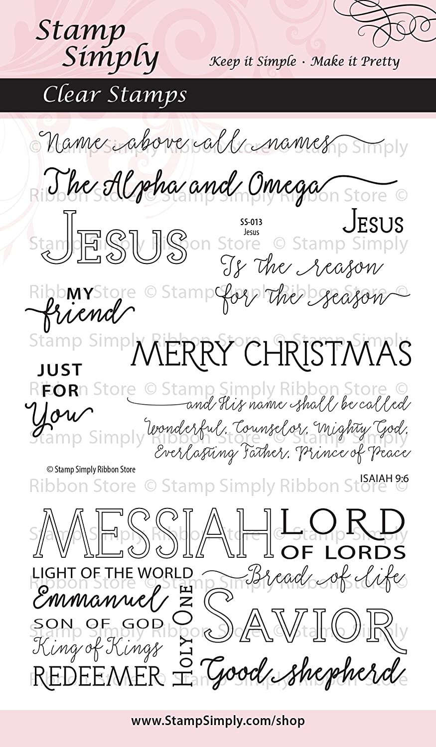 Stamp Simply Clear Stamps 1-Pack Jesus Christian Religious 10 Pieces