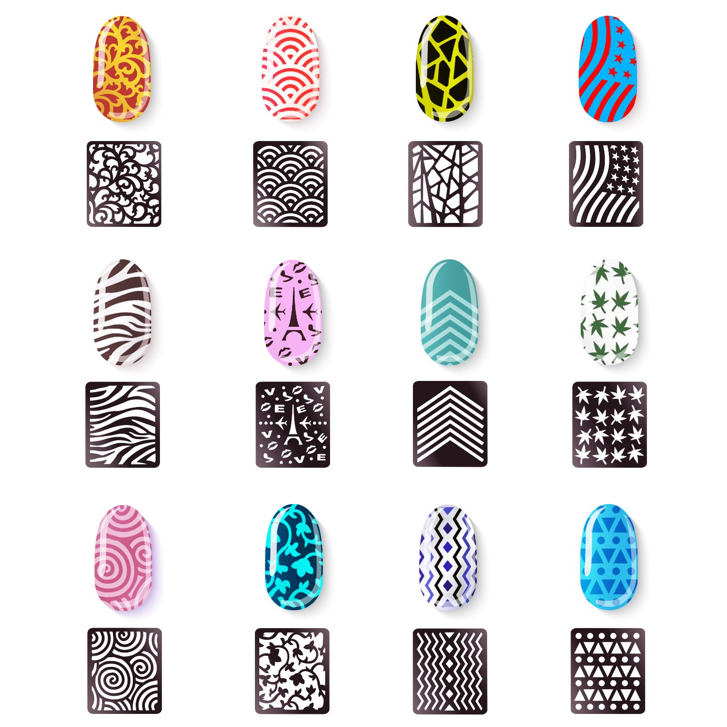 Designs Nail Vinyls Nail Stencil Sticker Sheets Set for Nail Art Design