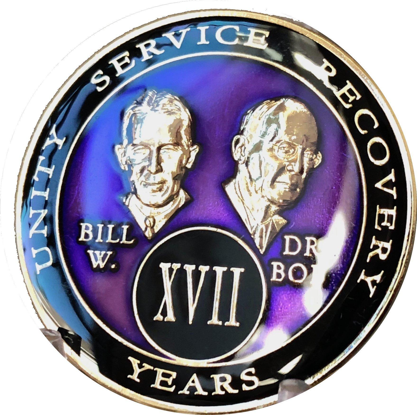 17 Year AA Medallion Purple Tri-Plate Founders Bill & Bob Chip XVII
