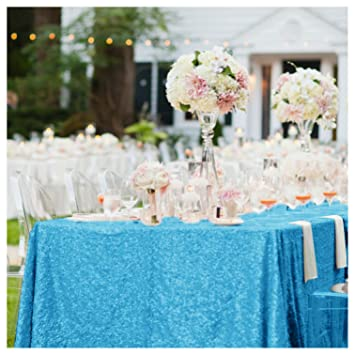 ShinyBeauty 90x132in-Rectangle-Turquoise -Sequin Tablecloth ...