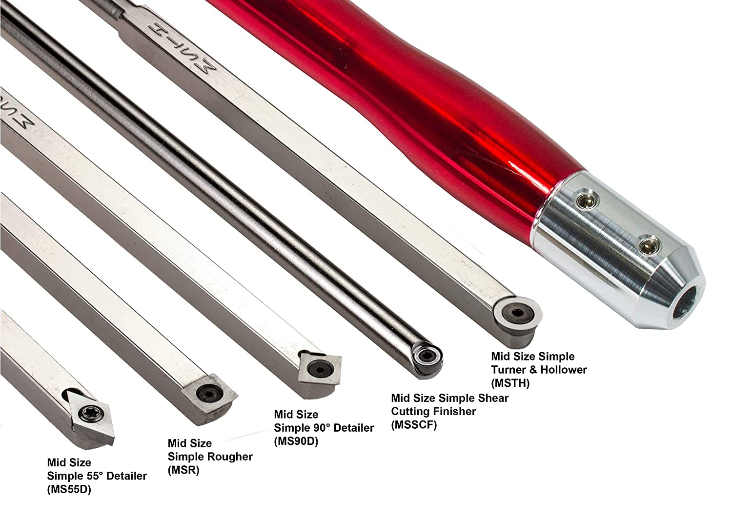 USA Made Brilliant Red Handle Simple Woodturning Tools Mid Size Package of 5 Carbide Turning Tools with 12 Solid Aluminum Interchangeable Handle for Wood Lathe