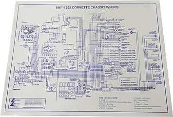 Amazon.com: 1961-1962 Corvette C1 Wiring Diagram 17X22 Laminated: AutomotiveAmazon.com