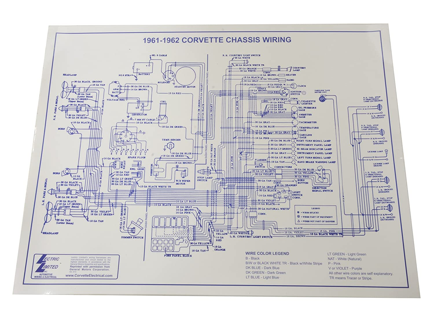 Amazon.com: 1961-1962 Corvette C1 Wiring Diagram 17X22 Laminated: Automotive