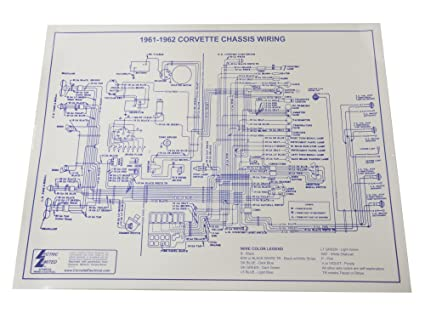 amazon com 1961 1962 corvette c1 wiring diagram 17x22 laminated rh amazon com